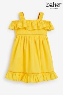 فستان أصفر مطرز بكشكشة منBaker by Ted Baker