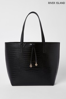 River Island Black Croc Summer Shopper Bag