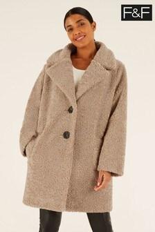F&F Natural Chenille Teddy Coat