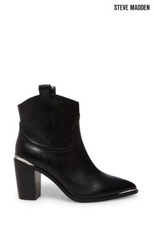 Steve Madden Zora Black Leather Western Ankle Boots