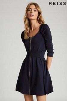 שמלת סריג עם רוכסן של Reiss דגם Mckenzie בכחול