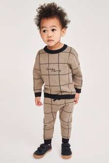 Knitted Check Jumper and Jogger Set (3mths-7yrs)