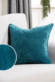 Dark Teal Soft Velour Small Square Cushion