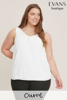 Evans Curve White Frill Cami