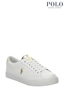 حذاء رياضي أبيض وذهبي Theron من Ralph Lauren