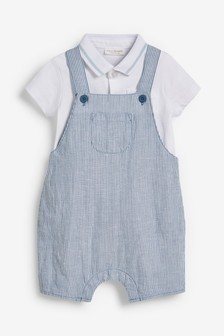 Stripe Dungarees And Polo Body Set (0mths-2yrs)