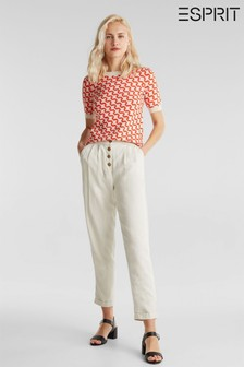 Esprit Cream Pleated Chinos With Button Details
