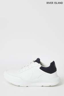 River Island White Chunky Runner Tab Shoes