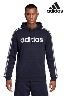 adidas Essential 3 Stripe Fleece Pullover Hoody