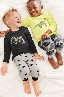 Set de 2 pijamale cu imprimeu camuflaj dinozauri (9 luni - 8 ani)