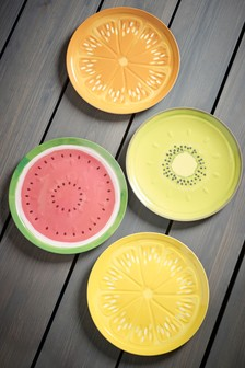 Set of 4 Fruit Print Melamine Side Plates