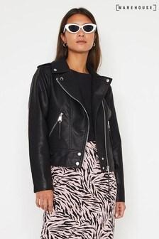 Warehouse Black Faux Leather Biker Jacket