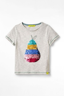 Detské sivé džersejové tričko s flitrami White Stuff Pear