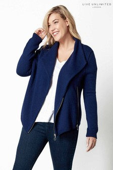 Live Unlimited Blue/Navy Knitted Biker Jacket