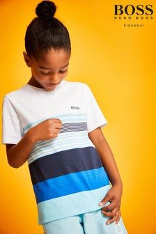BOSS White/Blue Stripe Colourblock Logo T-Shirt