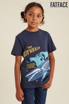 Modré tričko FatFace Hope The Whale Map