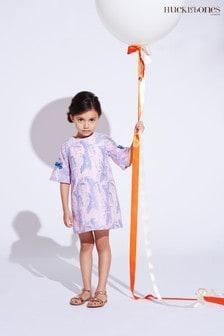 Hucklebones Kleid mit Glockenärmeln und Blumenmuster, Violet