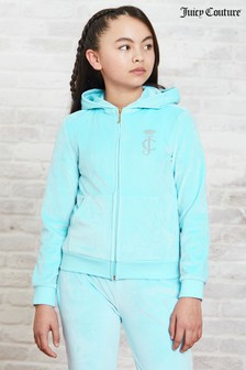 Juicy Couture Luxe Velour Diamanté Zip Through Hoody