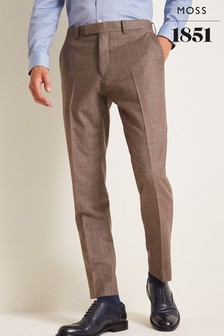Moss 1851 Performance Tailored Fit Biscuit Milled Trousers