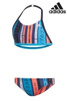 Синий купальник  с 3 полосами и логотипом adidas