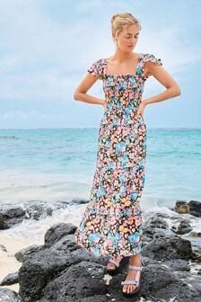 Платье макси с юбкой в складку