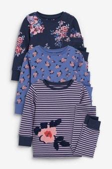 Kuschelige Pyjamas mit Blumenmuster, 3er-Pack (9Monate bis 16Jahre)