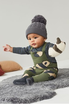 GOTS Organic Jersey Dungarees And Bodysuit Set (0mths-3yrs)