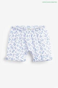 Pantaloni scurți cu model floral Benetton albi