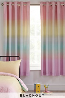 Rainbow Ombre Eyelet Blackout Curtains