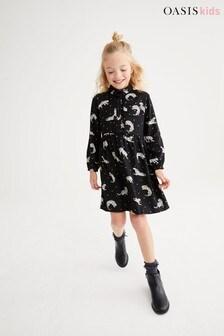 Oasis Hemdblusenkleid mit Leopardenmuster, Schwarz