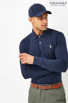 Polo Golf by Ralph Lauren Navy Contrast Collar Long Sleeve Polo