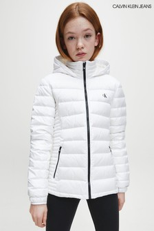 Calvin Klein White Fitted Light Down Jacket