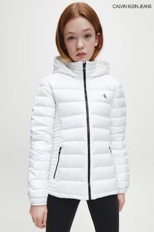Белая приталенная легкая дутая куртка Calvin Klein