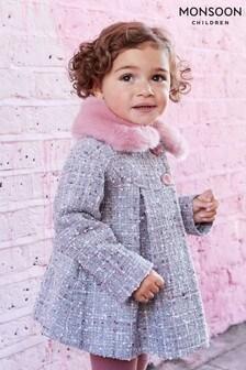 Monsoon Grey Baby Sparkle Tweed Coat