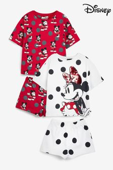 2 Pack Minnie Mouse Short Pyjamas With Flippy Sequin (3-16yrs)