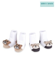 aden + anais White Tiger And Koala Rattle Socks Two Pack Gift Set