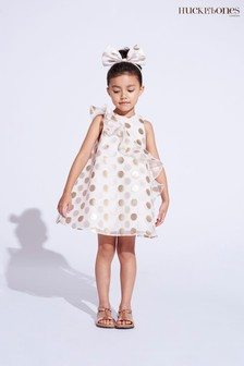 שמלת שיפט שלHucklebones עם נקודות בצבע זהב ומלמלה