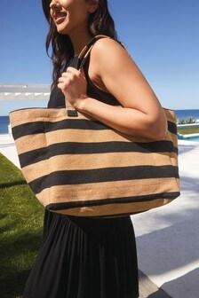 Gold/Black Striped Shopper Bag