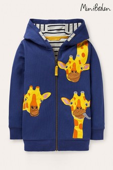 Boden Blue Animal Zip-Up Hoodie