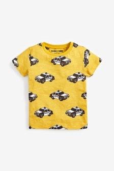 Tričko s krátkymi rukávmi s potlačou policajných áut (3 mes. – 7 rok.)