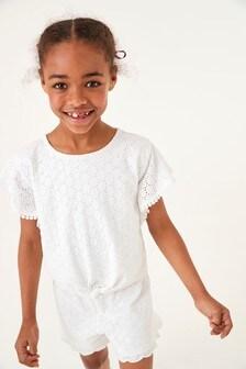 Топ и шорты с вышивкой (комплект) (3-16 лет)