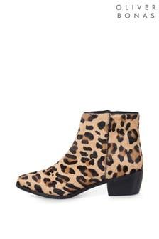 Oliver Bonas Natural All Over Leopard Boots