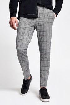 River Island Grey Smart Garnet Check Pow Ultra Trousers