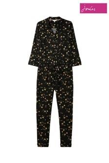 Joules Black Dahlia Long Sleeve Button Through Jumpsuit