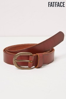 FatFace Brown Heart Stud Leather Belt
