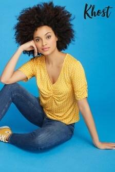 Khost Yellow Spot Ruche Front Jersey T-Shirt