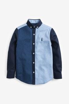 قميصأكسفورد كتل لون بكم طويل (3-16 سنة)