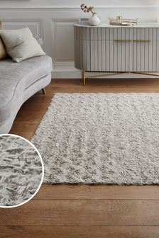 Grey Textured Faux Fur Rug