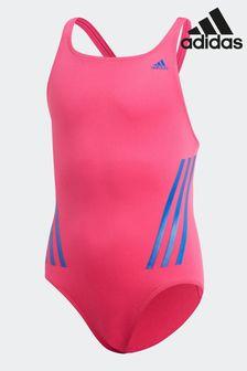 Розовый/синий купальник с 3 полосками adidas