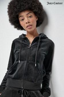 Juicy Couture Robertson Klassische Kapuzenjacke aus Samt mit durchgehendem Reißverschluss